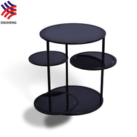 Rotatable small round black tempered glass end table
