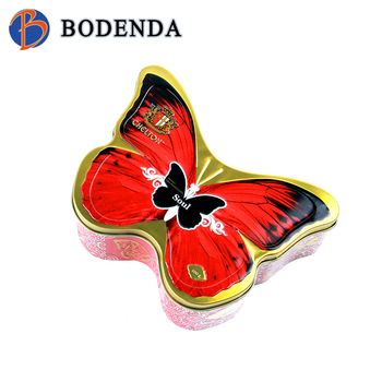 top quality butterfly shaped empty cookie tin can with