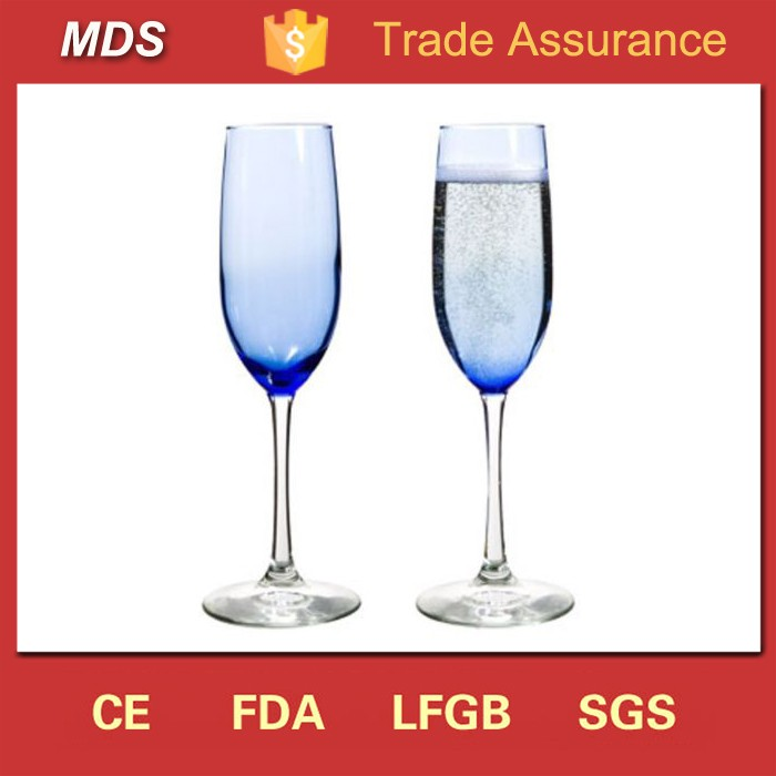 Stylish design large blue colored champagne glass