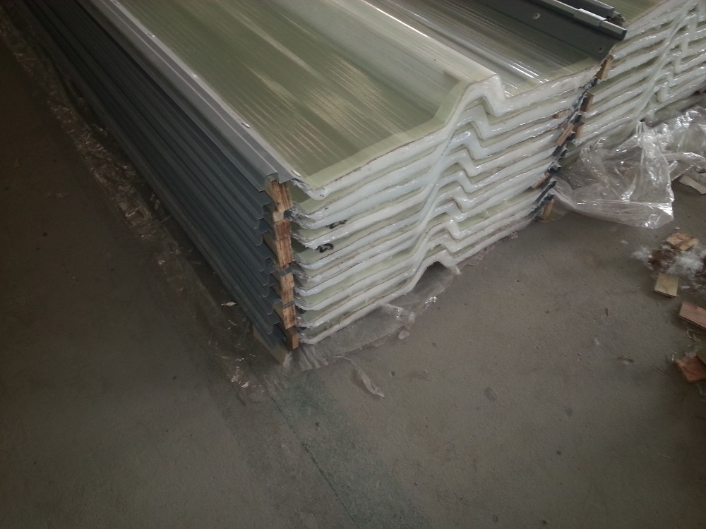 2 layer hollow core transparent sinusoidal roofing sheet FRP corrugated sheet