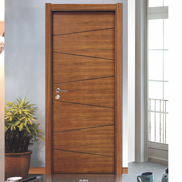 Teak Wood Veneer Solid Wood Hinges Door With Flush Door