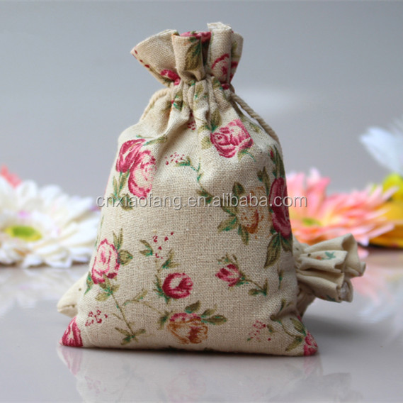 Customized vintage jute shopping bag wholesale/mini drawstring bags