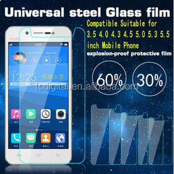 Universal Tempered Glass Screen Protector Film for 4.0 4.3 4.5 4.7 5.0 5.5 5.7 inch phone