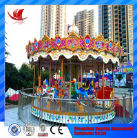 2016 hot sale amusement park equipment cnc toy carousel horse machine for children and adults
