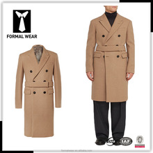 custom tailor design double breasted camel color overcoat men 2016