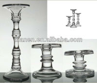 Set of 3 Tall Glass Pillar Candle Holder