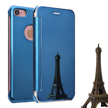 Smart Flip slim view electroplating mirror transparent cases cover for iPhone 7, PC leather mirror case