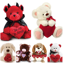 2016 Valentine Devil Bear Plush Toy With Red Heart/Teddy Bear Valentine's Day Stuffed Animal