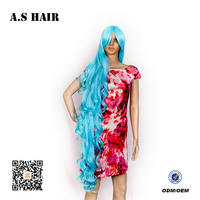 Fashion long hairstyle for High Quality cosplay Synthetic body wave blue color hair synthetic hair Wigs
