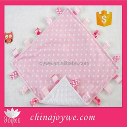 Double Minky! Pink + White Dots & Pink Minky Snuggle Taggie Tag Security Blanket