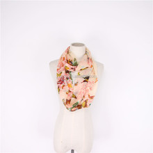 Spring and autumn season butterfly custom printing chiffon infinity scarf