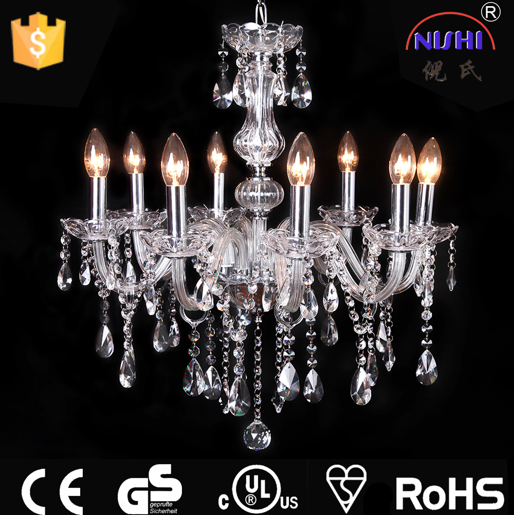 Indoor chandelier light 8-L acrylic/glass crystal pendant light energy saving lamp NS-120186-8
