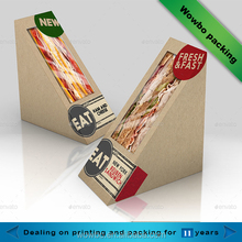 green biodegradable fashion paper sandwich wedge packaging with pvc window
