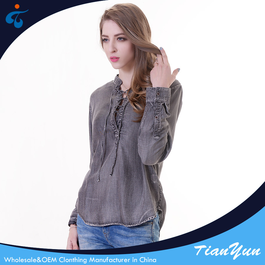 Custom design denim fashion casual latest styles luxury blouse