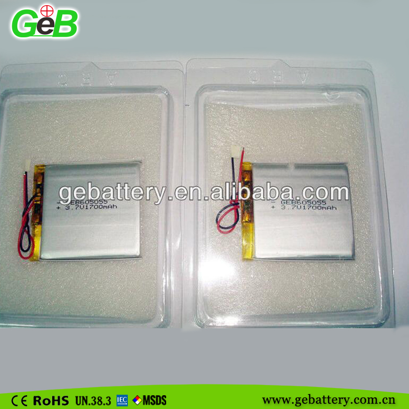 GEB605055 3.7V 1700 mAh li-polymer battery for portable DVD, MD, CD players