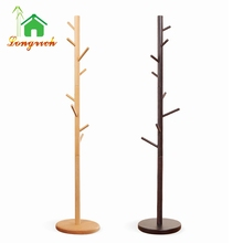 Eco-friendly Natural Bamboo Entryway Coat Tree Wooden Baby Clothes Display Drying Rack Stand