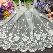 Golden Knit 35cm Width DIY Cotton Voile Embroidery Hot Sale Guangzhou Lace Trim XZ017#