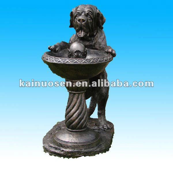 Outdoor resin garden dog statues water fountain showing