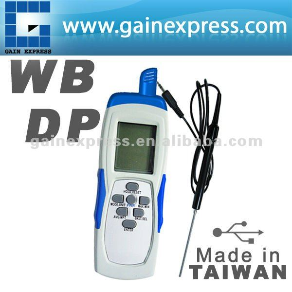 Dew point Temp. (DP) Wet Bulb Temp.(WB) Function Made in Taiwan Digital USB Hand Held Thermo-Hygrometer
