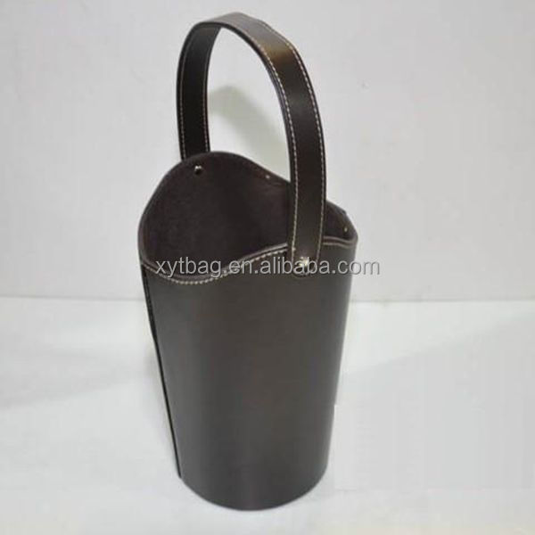 Custom Logo Printed Leather Portable Wine Carrier