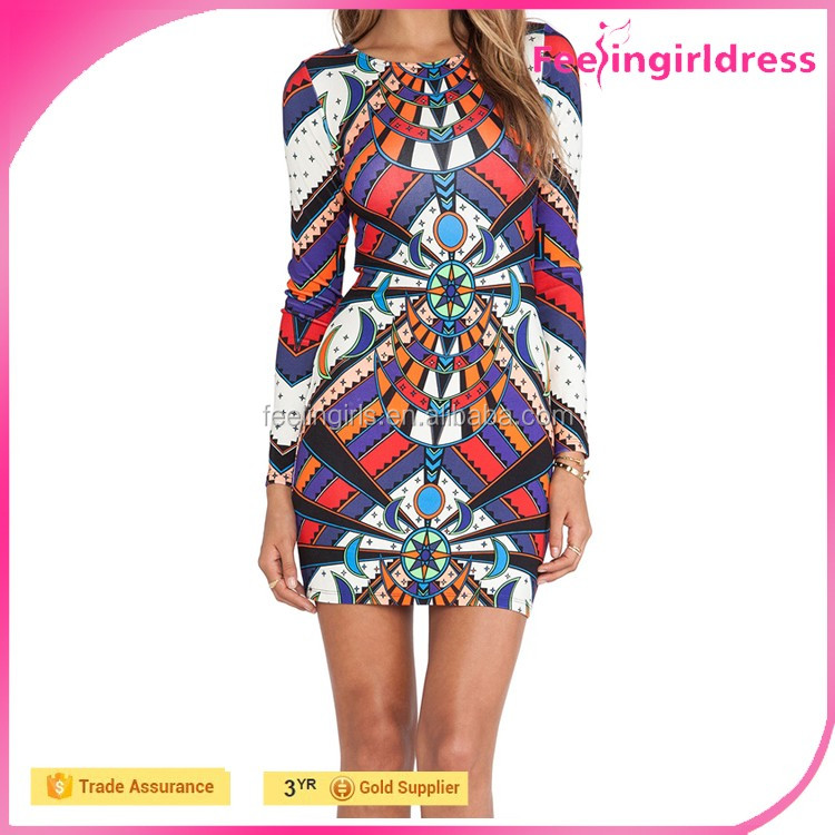 Fashion Long Sleeves Printed Pattern China Girls Photos Without Dress