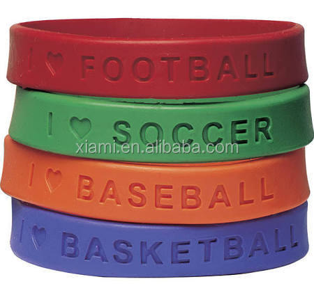gym sport pure color debossed words and loving heart mass production silicone bracelet