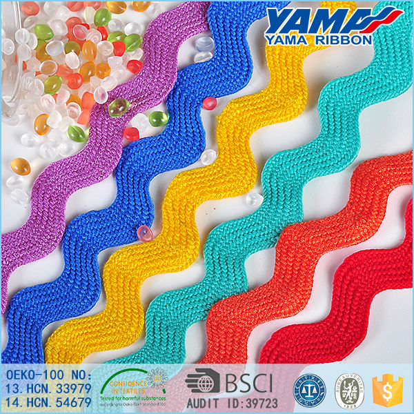Crazy selling 100% polyester colorful Ric Rac grosgrain celebrate it ribbon