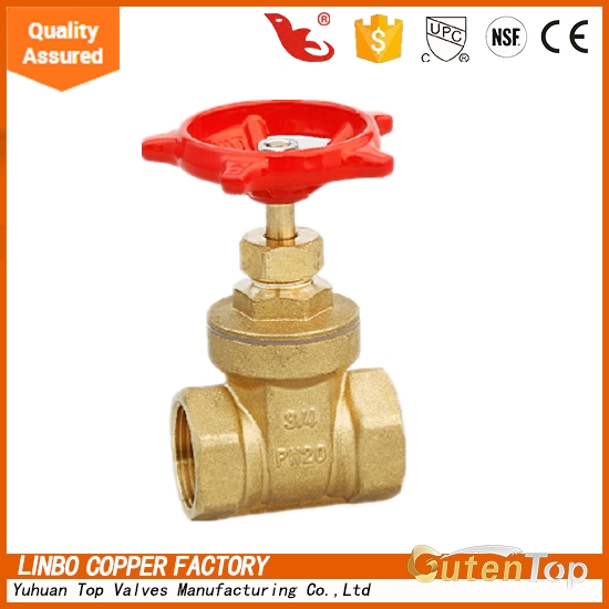 "LB-GutenTop 3/4""*3/4"" BSP thread pn20 brass knife stem gate valve with prices"
