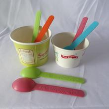 Factory Wholesale custom paper disposable ice cream yogurt cup / plastic spoon