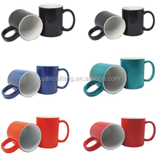 Inside colored ceramic coated mugs and cups for sublimation