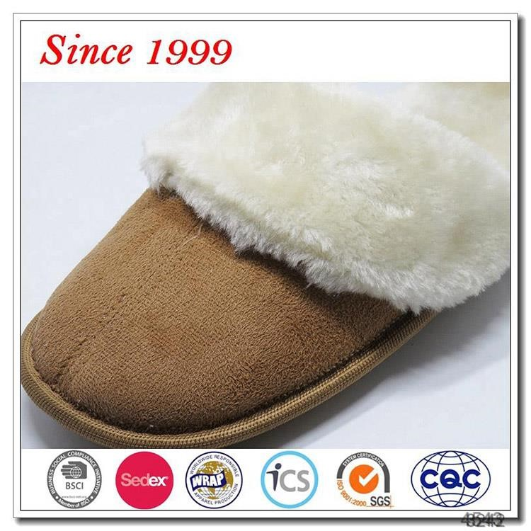Cheap wholesale woman man winter sheepskin fluffy slippers