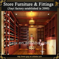 High quality wooden wine display stand rack and liquor cabinet with LED light for wine store decoration furniture