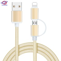 High end nylon braided 100cm 2 in 1 usb charging data cable