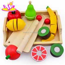 2015 best seller wooden fruit cutting toy, wooden food cutting toy, juguete de corte de verduras, wooden cutting toy W10B144