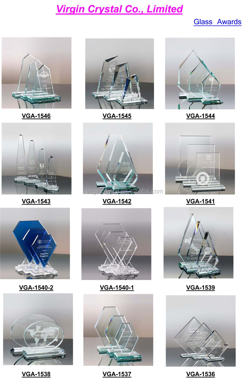 Customized blank handmade crystal glass award souvenirs