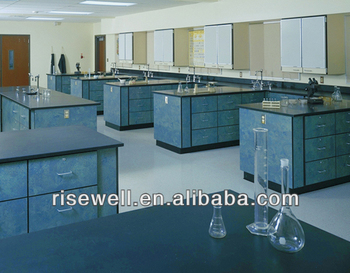 lab chemical resistant study table and cabinet