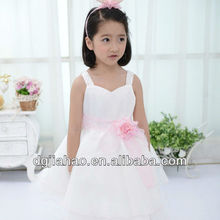 2013 fairy spaghetti strap white organza summer wear beautiful girl without dress ten years old