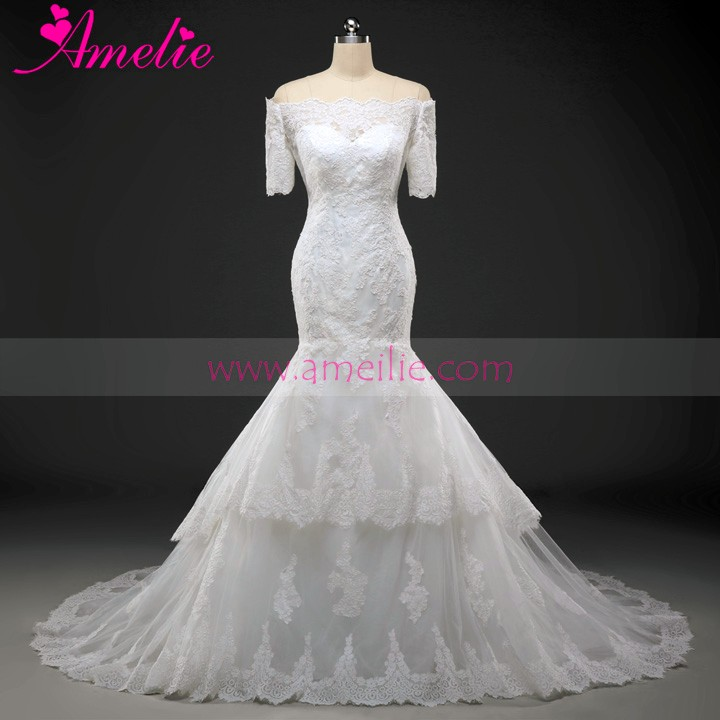 100% Real Photos Custom Made Luxurious Long Train Lace Applique Alibaba Wedding Dress