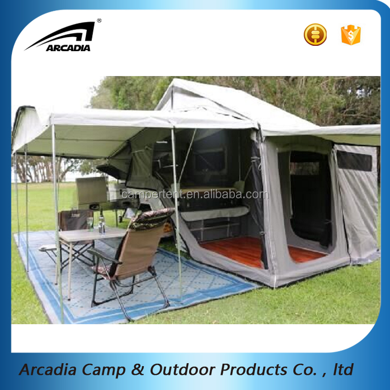 factory wholesales 4x4 14oz polycotton off road hard floor rear fold camper trailer tent with roof window