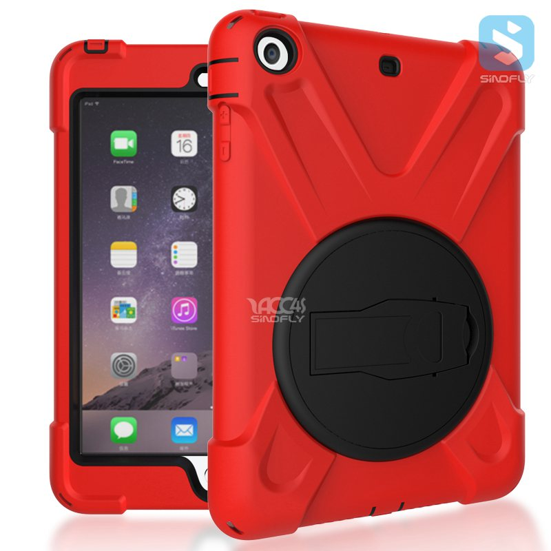 Brand new case cover for ipad mini 3 protective Silicone +PC 3 in 1 hybrid case with kickstand