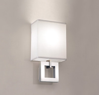 UL & CUL Listed Hotel White Fabric Wall Light in Brushed Nickel