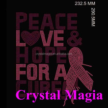 Breast cancer awareness bow courage love life survive heat rhinestone transfers designs