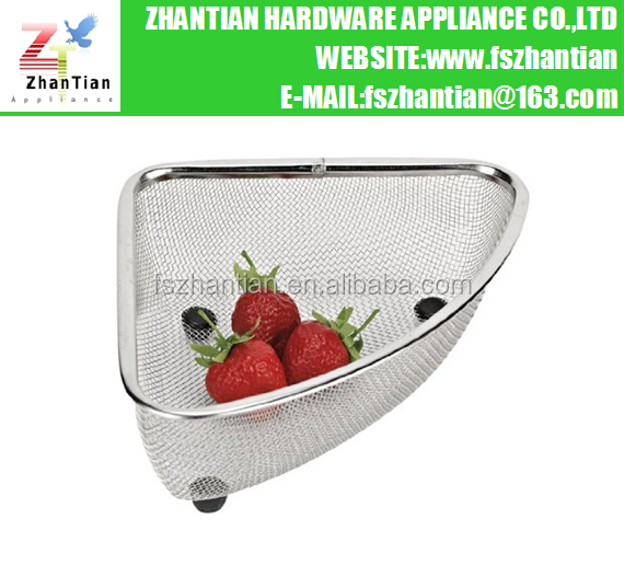 Stainless Steel Mesh Sink Corner Strainer / Basket
