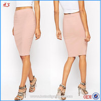 2015 Latest High Quality High-waisted Pink Fancy Pictures Fashionable Fashion Wholesale Clothing Women Pencil Midi Bodycon Skirt