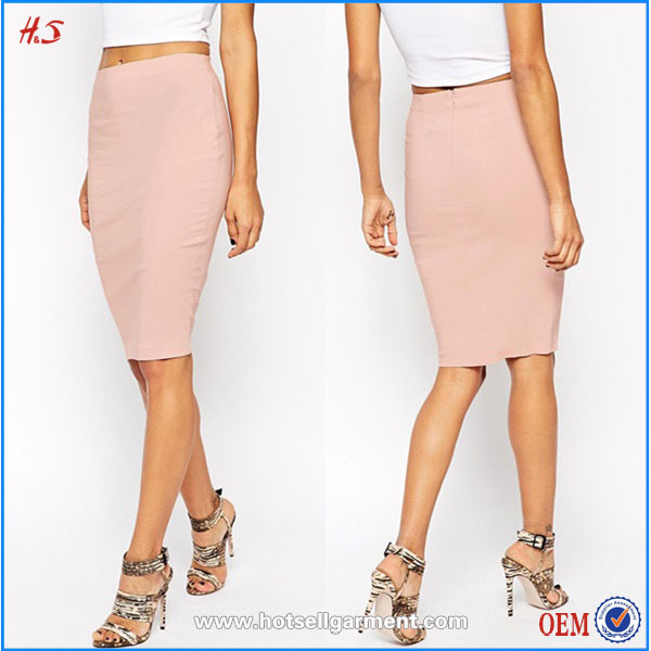 2016 Latest High Quality High-waisted Pink Fancy Pictures Fashionable Fashion Wholesale Clothing Women Pencil Midi Bodycon Skirt