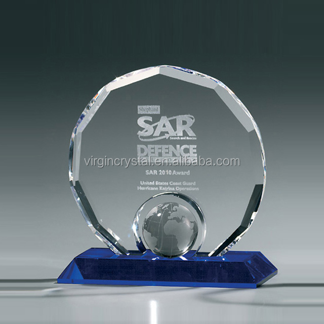 Globe Ball Inserted Crystal Circle Plaque with Diamond Cutting Edges for Sports Souvenirs