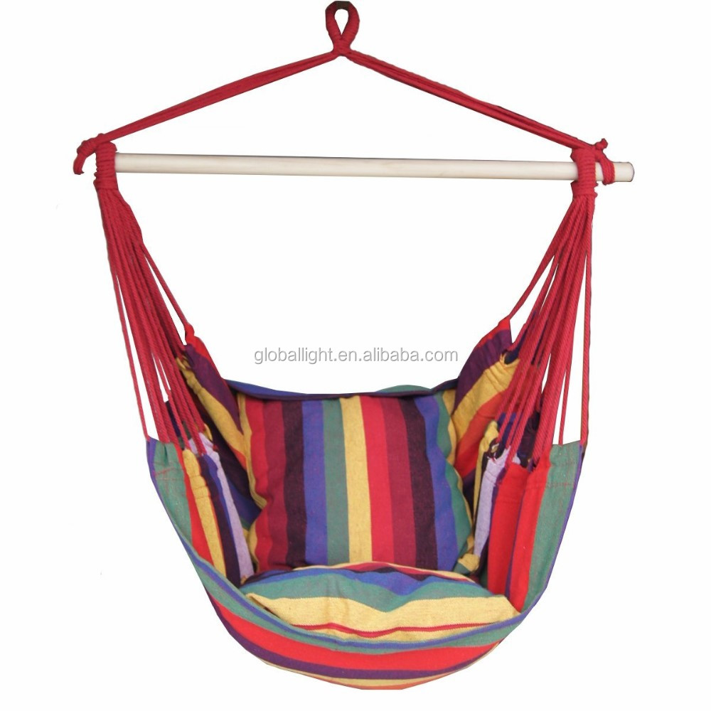 Rainbow Stripe Cotton Hanging Hammock Swing Chair