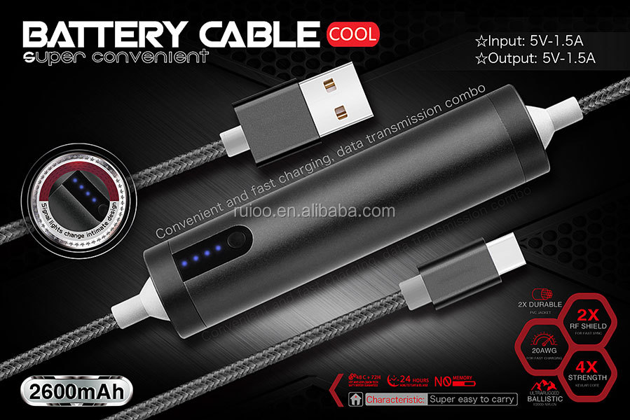 Micro USB data cable with emergency 2600mah power bank Type-C mobile power data cable for smartphone