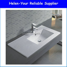 2016 Sales Promotion Retangular Bathroom Art Wash Sink Ceramic Cabinet Semi-Hung Hand Face Washing Basin No.YJ805