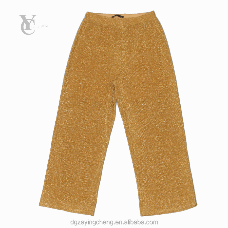 2017 latest fashion gold and silver line Korean fabric summer women pants and trousers ladies wide leg pants